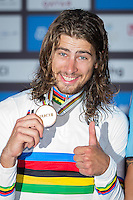 Picture by Alex Whitehead/SWpix.com - 16/10/16 - Cycling - 2016 UCI Road Cycling World Championships - The Pearl, Doha, Qatar - Slovakia's Peter Sagan celebrates winning the Elite Men's Road Race.