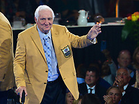 Canton, Ohio - August 2, 2019:  Gil Brandt receives his Hall of Fame Gold Jacket from Hall of Famer and Dallas Cowboys owner Jerry Jones at the Canton Civic Center in Canton, Ohio August 2, 2019.  (Photo by Don Baxter/Media Images International)
