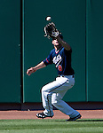 Reno Aces left fielder Tyler Bortnick makes the catch vs the Fresno Grizzlies on Sunday afternoon, August 26, 2012 in Reno, Nevada.