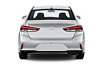 Straight rear view of a 2018 Hyundai Sonata Eco 4 Door Sedan stock images