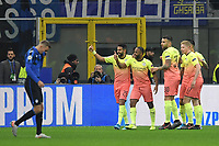 Raheem Sterling of Manchester City celebrates with team mates after scoring the goal of 0-1 for his side <br /> Milano 06-11-2019 Stadio San Siro <br /> Football Champions League 2019/2020 Group C <br /> Atalanta - Manchester City <br /> Photo Andrea Staccioli / Insidefoto