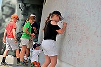 Potomac, MD - June 30, 2017: Patrons sign the Wall of Heroes at the Quicken Loans National Tournament at TPC Potomac at Avenel Farm in Potomac, MD, June 30, 2017.  (Photo by Don Baxter/Media Images International)