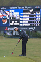 Beau Hossler (USA) watches his putt on 1 during Round 3 of the Valero Texas Open, AT&amp;T Oaks Course, TPC San Antonio, San Antonio, Texas, USA. 4/21/2018.<br /> Picture: Golffile   Ken Murray<br /> <br /> <br /> All photo usage must carry mandatory copyright credit (&copy; Golffile   Ken Murray)