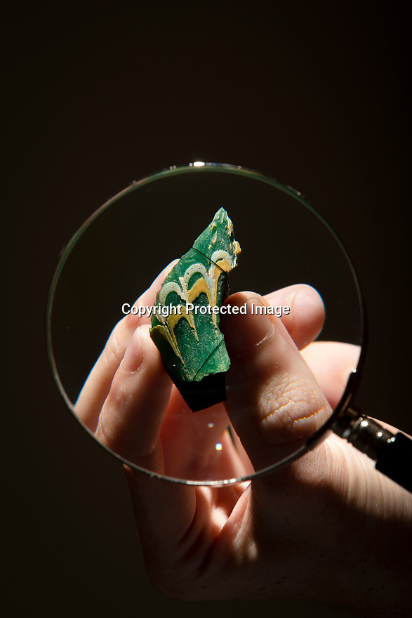 22/07/19<br /> <br /> A fragment of an 1,800 year-old glass fish, the only one of its type ever discovered in Britain, has been found by the National Trust at Chedworth Roman Villa near Cirencester in Gloucestershire.<br /> <br /> It was discovered by Peter Moore, 24, an archaeologist involved in a dig in 2017 to explore part of the villa.<br /> <br /> <br /> All Rights Reserved: F Stop Press Ltd. +44(0)1335 418365   +44 (0)7765 242650 www.fstoppress.com