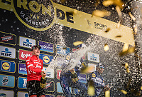 Podium: <br /> <br /> 2nd place finisher Mads Pedersen (DEN/Trek Segafredo) champagne showering...<br /> <br /> 102nd Ronde van Vlaanderen 2018<br /> 1day race: Antwerp › Oudenaarde - BEL (265k)