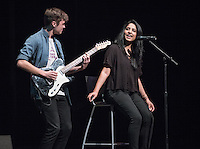 Micah Garrido '17 and Divya Sarathy '16 perform. Occidental College students perform and compete during Apollo Night, one of Oxy's biggest talent showcases, on Friday, Feb. 26, 2016 in Thorne Hall. Sponsored by ASOC, hosted by the Black Student Alliance as part of Black History Month.<br /> (Photo by Marc Campos, Occidental College Photographer)