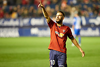 Roberto Torres (midfield; CA Osasuna) celebrates the goal during the Spanish football of La Liga 123, match between CA Osasuna and Málaga CF at the Sadar stadium, in Pamplona (Navarra), Spain, on Saturday, November 3, 2018.