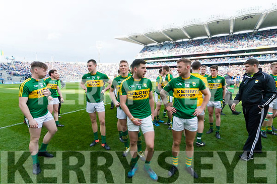 Kerry players celebrate after defeating Dublin at the National League Final in Croke Park on Sunday.