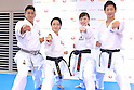 (L-R) <br /> Ryo Kiyuna, <br /> Kiyo Shimizu, <br /> Ayumi Uekusa, <br /> Ryutaro Araga, <br /> AUGUST 4, 2016 - Karate : <br /> Japan Karatedo Federation holds a press conference after it was decided that <br /> the sport of karate would be added to the Tokyo 2020 Summer Olympic Games on August 3rd, 2016 <br /> in Tokyo, Japan. <br /> (Photo by AFLO SPORT)