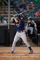 Mississippi Braves Alejandro Salazar (48) at bat during a Southern League game against the Jackson Generals on July 23, 2019 at The Ballpark at Jackson in Jackson, Tennessee.  Mississippi defeated Jackson 1-0 in the second game of a doubleheader.  (Mike Janes/Four Seam Images)