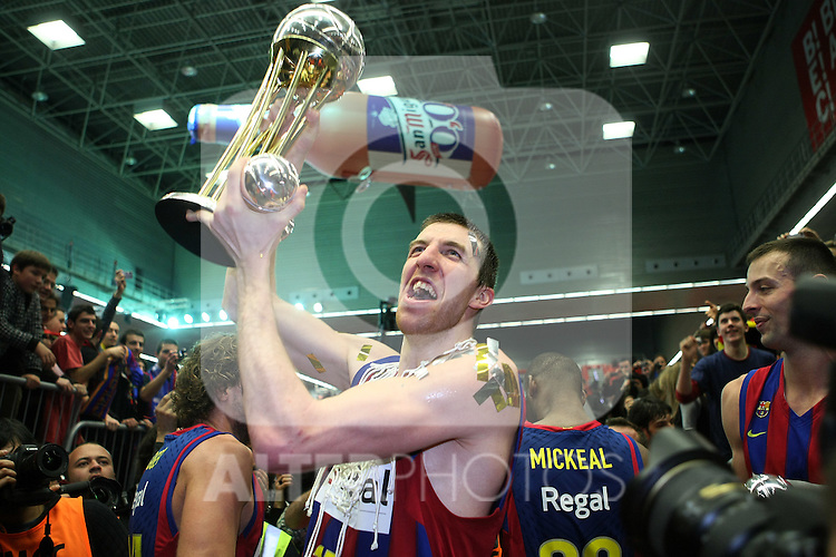 FC Barcelona's Fran Vazquez celebrates the victory after Spanish Basketball King's Cup Final match.(ALTERPHOTOS/Acero)