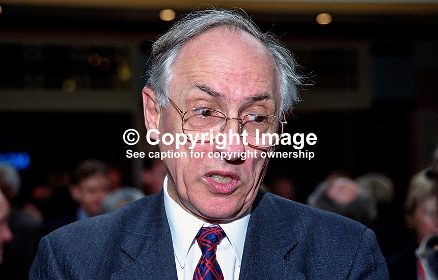 Donald Dewar, MP, UK, Labour Party, 199810123.<br /> <br /> Copyright Image from Victor Patterson, 54 Dorchester Park, Belfast, UK, BT9 6RJ<br /> <br /> t1: +44 28 9066 1296 (from Rep of Ireland 048 9066 1296)<br /> t2: +44 28 9002 2446 (from Rep of Ireland 048 9002 2446)<br /> m: +44 7802 353836<br /> <br /> e1: victorpatterson@me.com<br /> e2: victorpatterson@gmail.com<br /> <br /> The use of any of my copyright images is subject to my Terms &amp; Conditions.<br /> <br /> It is IMPORTANT that you familiarise yourself with them. They are available on my website, victorpatterson.com.<br /> <br /> None of my copyright images may be used on the Internet unless they are visibly watermarked, i.e. &copy; Victor Patterson within the body of the image. Metadata denoting my copyright must NOT be deleted. <br /> <br /> Web use is extra at currently recommended NUJ rates.