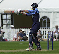 .14/07/2002 - Sport - Cricket- Norwich Union League..Middlesex Crusaders vs Gloucester Gladiators.Tim Hancock hooking a ball from Ian Jones.