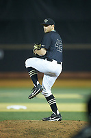 Wake Forest Demon Deacons relief pitcher Rhyse Dee (42) in action against the Virginia Cavaliers at David F. Couch Ballpark on May 18, 2018 in  Winston-Salem, North Carolina.  The Cavaliers defeated the Demon Deacons 15-3.  (Brian Westerholt/Four Seam Images)