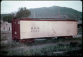RGS box car #2101 possibly in Ridgway.<br /> RGS  Ridgway ?, CO