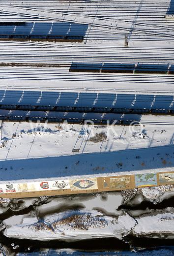 Train tracks and Arkansas levee art, Pueblo, Colorado. Feb 2014. 89517