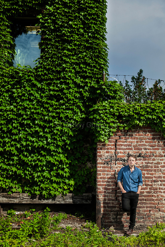 "Author Joshua Cohen at his home in the Red Hook neighborhood of Brooklyn, whose new novel Book of Numbers has been called ""the Great American Internet Novel."""