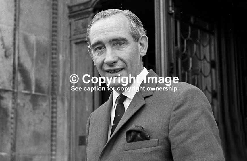Jim Malley, private secretary to N Ireland Prime MInister, Captain Terence O'Neill, in the main doorway of Stormont Castle, Belfast. 196609000038.<br /> <br /> Copyright Image from Victor Patterson,<br /> 54 Dorchester Park, Belfast, UK, BT9 6RJ<br /> <br /> t1: +44 28 90661296<br /> t2: +44 28 90022446<br /> m: +44 7802 353836<br /> <br /> e1: victorpatterson@me.com<br /> e2: victorpatterson@gmail.com<br /> <br /> For my Terms and Conditions of Use go to<br /> www.victorpatterson.com