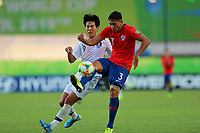 2nd November 2019; Kleber Andrade Stadium, Cariacica, Espirito Santo, Brazil; FIFA U-17 World Cup Brazil 2019, Chile versus Korea Republic; Nicolas Garrido of Chile and Choi Minseo of Korea Republic