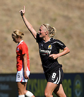 Solveig Gulbrandsen of Gold Pride celebrates after scoring a goal during the second half of the game against Washington Freedom at Pioneer Stadium in Hayward, California.  Gold Pride defeated Washington Freedom, 3-2.