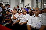 Former Colombian president Ernesto Samper, Former Colombian senator Piedad Cordoba, and Nobel 1992 Peace Prize Laureate Rigoberta Menchu attend a mass during the process to receive a group of 10 hostages held for more than 12 years release by FARC members in Villavicencio, Colombia. 27/03/2012.  Photo by Nestor Silva / VIEWpress.