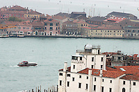 Una veduta di Punta della Dogana, in primo piano, a Venezia.<br /> View of Punta della Dogana, foreground, in Venice.<br /> UPDATE IMAGES PRESS/Riccardo De Luca