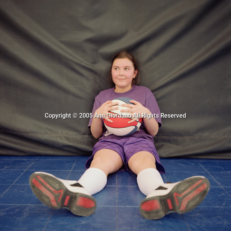 Young girl with basketball