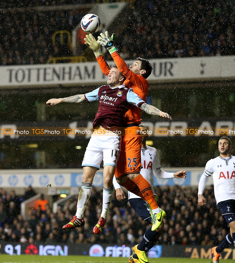 Matt Taylor of West Ham and Hugo Lloris of Spurs - Tottenham Hotspur vs West Ham United, Capital One Cup Quarter Final at White Hart Lane, Tottenham - 18/12/13 - MANDATORY CREDIT: Rob Newell/TGSPHOTO - Self billing applies where appropriate - 0845 094 6026 - contact@tgsphoto.co.uk - NO UNPAID USE