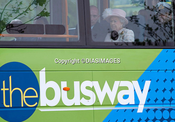 "THE QUEEN GETS ON THE BUS.Her Majesty followed in the footsteps of other Royals and has finally taken a bus ride..Arriving in Cambridge by train the Queen and Duke of Edinburgh took the Cambridgeshire Guided Bus on the world's longest guided busway, a short distance to the Medical Research Council Laboratory of Molecular Biology..Other Royals to have taken a bus ride include Prince Charles, Camilla, Duchess of Cornwall and Prince Harry while in New York..Mandatory Credit Photo: ©DIASIMAGES..**ALL FEES PAYABLE TO: ""NEWSPIX INTERNATIONAL""**..IMMEDIATE CONFIRMATION OF USAGE REQUIRED:.Newspix International, 31 Chinnery Hill, Bishop's Stortford, ENGLAND CM23 3PS.Tel:+441279 324672  ; Fax: +441279656877.Mobile:  07775681153.e-mail: info@newspixinternational.co.uk"