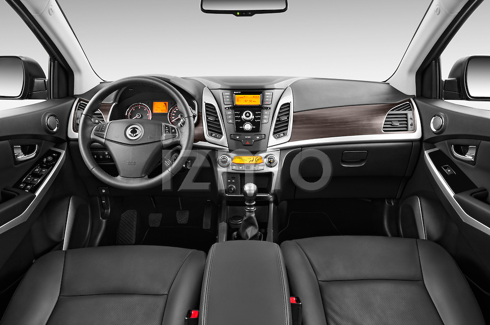 Stock photo of straight dashboard view of2014 Ssangyong Korando Sapphire 5 Door SUV Dashboard