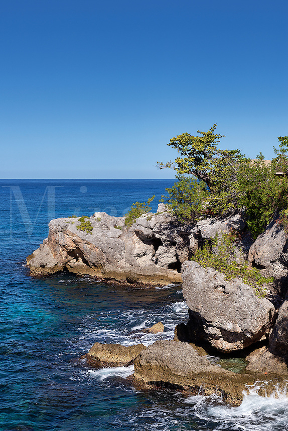 Coastal rocks and ocean, Negril Jamaica