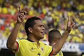 Carlos Bacca celebra con sus compa&ntilde;eros tras anotar el primer gol contra Ecuador en partido de eliminatorias para el Mundial de F&uacute;tbol 2018 en el Estadio Metropolitano Roberto Melendez de Barranquilla el 29 de marzo de 2016.<br /> <br /> Foto: Archivolatino<br /> <br /> COPYRIGHT: Archivolatino<br /> Prohibido su uso sin autorizaci&oacute;n.