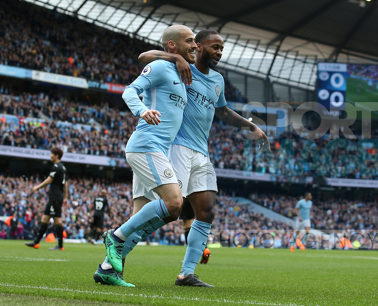 David Silva of Manchester City celebrates scoring his goal with Raheem Sterling of Manchester City during the premier league match at the Etihad Stadium, Manchester. Picture date 22nd April 2018. Picture credit should read: Simon Bellis/Sportimage