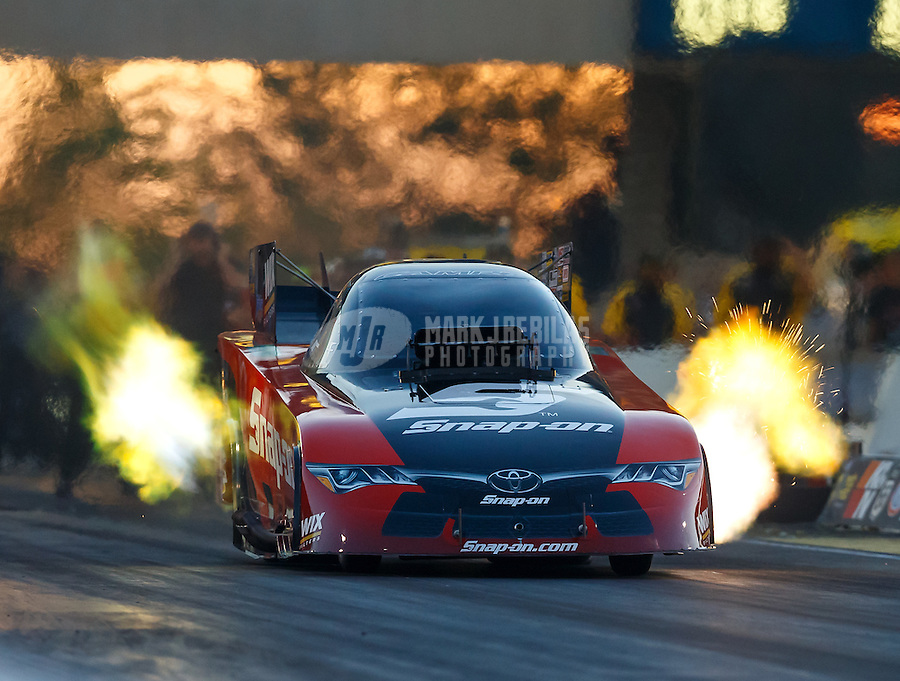 Jul 8, 2016; Joliet, IL, USA; NHRA funny car driver Cruz Pedregon during qualifying for the Route 66 Nationals at Route 66 Raceway. Mandatory Credit: Mark J. Rebilas-USA TODAY Sports
