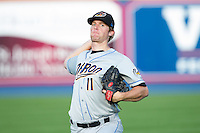 Akron Rubber Ducks starting pitcher Will Roberts (11) warms up in the outfield prior to the game against the Reading Fightin Phils at FirstEnergy Stadium on June 19, 2014 in Wappingers Falls, New York.  The Rubber Ducks defeated the Fightin Phils 3-2.  (Brian Westerholt/Four Seam Images)