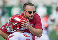 NWA Democrat-Gazette/BEN GOFF @NWABENGOFF<br /> Joe Craddock, Arkansas offensive coordinator, greets players during warmups before the game vs Colorado State Saturday, Sept. 8, 2018, at Canvas Stadium in Fort Collins, Colo.
