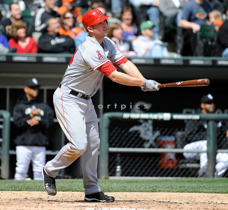 MARK TRUMBO, of the Los Angeles Angels, in action during the Angels game against the Chicago White Sox, on April 17, 2011 at US Cellular Field in Chicago, Illinois.  The Angels beat the Sox 4-2.