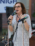 Artown Executive Director Beth Macmillan speaks to the crowd during Artown's Opening Night in Reno on Saturday, July 1, 2017.