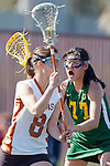 Santa Barbara, CA 02/13/10 - Alina Daszkowski (Texas #8) and Bryn Levitan (Oregon #77) in action during the Texas-Oregon game at the 2010 Santa Barbara Shoutout, Texas defeated Oregon 11-9.