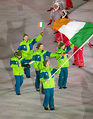 9th February 2018, Pyeongchang, South Korea; 2018 Winter Olympic Games; PyeongChang Olympic Stadium; Snowboarder Seamus OConnor leading the national team during the Opening ceremony carrying flag of Ireland