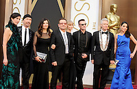 HOLLYWOOD, CA - MARCH 2: The Edge, Bono, Larry Mullen Jr., Adam Clayton  arriving to the 2014 Oscars at the Hollywood and Highland Center in Hollywood, California. March 2, 2014. Credit: SP1/Starlitepics. /NORTePHOTO