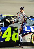 May 1, 2009; Richmond, VA, USA; NASCAR Sprint Cup Series driver Jimmie Johnson during qualifying for the Russ Friedman 400 at the Richmond International Raceway. Mandatory Credit: Mark J. Rebilas-