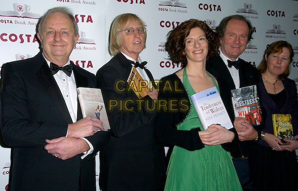 THE FIVE CATEGORY AWARD WINNERS - BRIAN THOMPSON, JOHN HAYNES, STEF PENNEY, WILLIAM BOYD & LINDA NEWBERY.The Costa Book Of The Year Award 2006, Grosvenor House Hotel, Park Lane, London, UK..February 7th, 2007.half length purple jacket green dress black tuxedo.CAP/CAN.©Can Nguyen/Capital Pictures