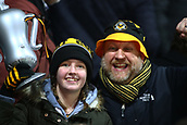 5th February 2019, Rodney Parade, Newport, Wales; FA Cup football, 4th round replay, Newport County versus Middlesbrough; Newport County fans celebrate the 2-0 win