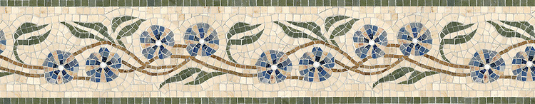 "7 7/8"" Morning Glory border, a hand-cut stone mosaic, shown in polished Verde Luna, Blue Macauba, Crema Valencia, Travertine Noce, Thassos (p), and tumbled Crema Marfil."