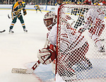 ST CHARLES, MO - MARCH 19:  Ann-Renée Desbiens (30) of the Wisconsin Badgers blocks the net during the Division I Women's Ice Hockey Championship held at The Family Arena on March 19, 2017 in St Charles, Missouri. Clarkson defeated Wisconsin 3-0 to win the national championship. (Photo by Mark Buckner/NCAA Photos via Getty Images)