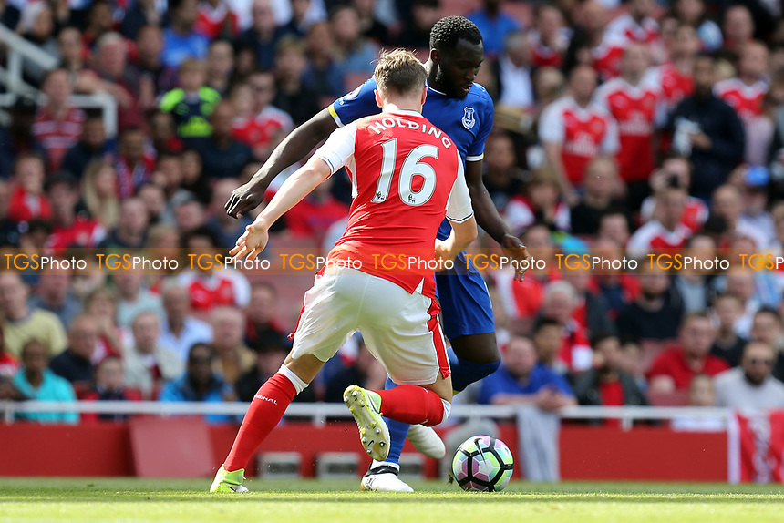 Romelu Lukaku of Everton and Rob Holding of Arsenal during Arsenal vs Everton, Premier League Football at the Emirates Stadium on 21st May 2017