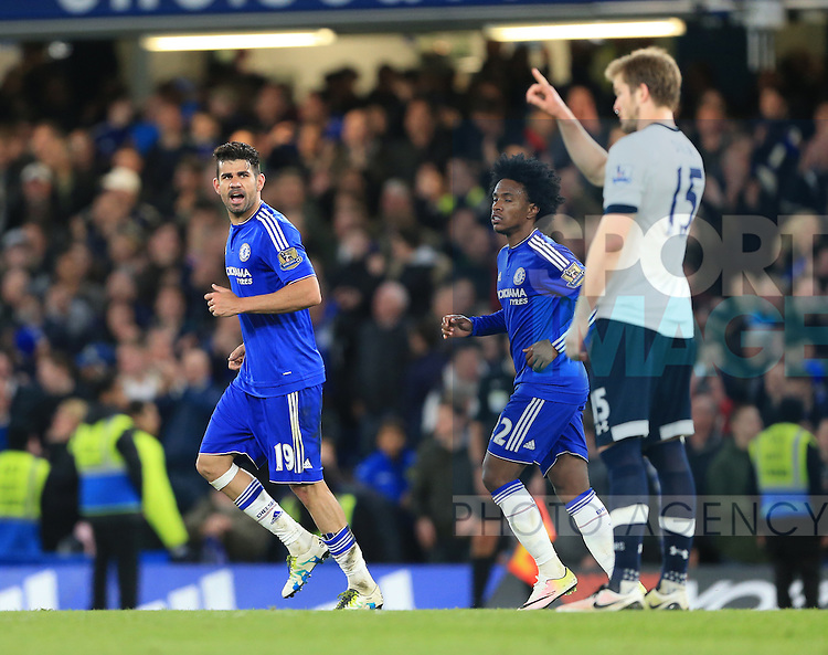 Chelsea's Diego Costa argues with Tottenham's Eric Dier during the Barclays Premier League match at Stamford Bridge Stadium.  Photo credit should read: David Klein/Sportimage