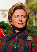 First Lady Hillary Rodham Clinton welcomes the 1999 White House Christmas Tree in Washington, D.C. on  December 2, 1999..Credit: Ron Sachs / CNP