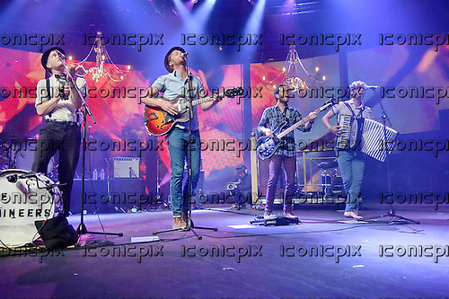 THE LUMINEERS - L-R: Jeremy Fraites, Wesley Schultz, Ben Wahamaki, Stelth Ulvang - performing live on Day 3 of the iTunes Festival at the Roundhouse in London UK - 03 Sep 2013.  Photo credit: George Chin/IconicPix